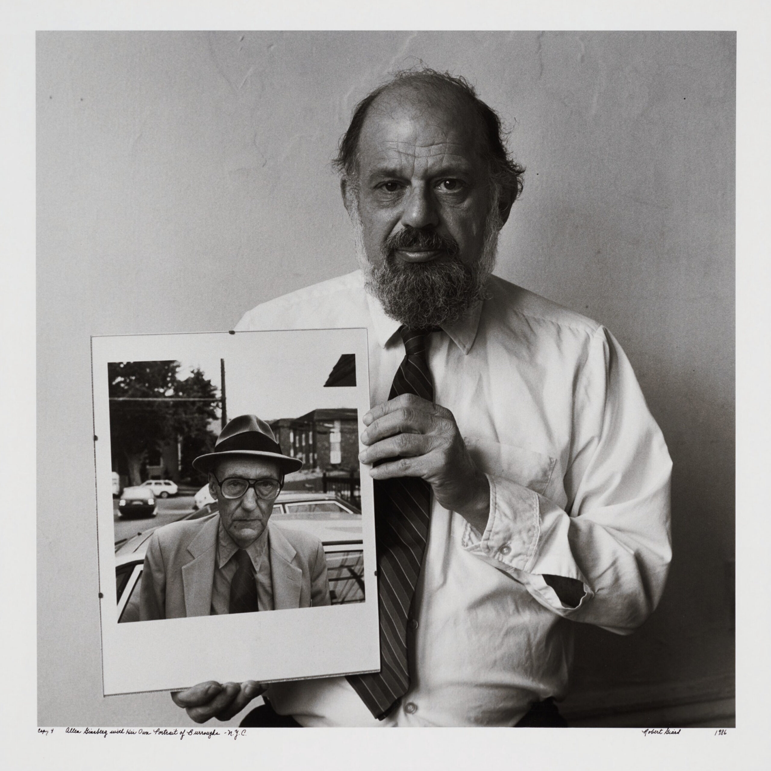 Ginsberg, Allen, with His Own Portrait of Burroughs, 1986
