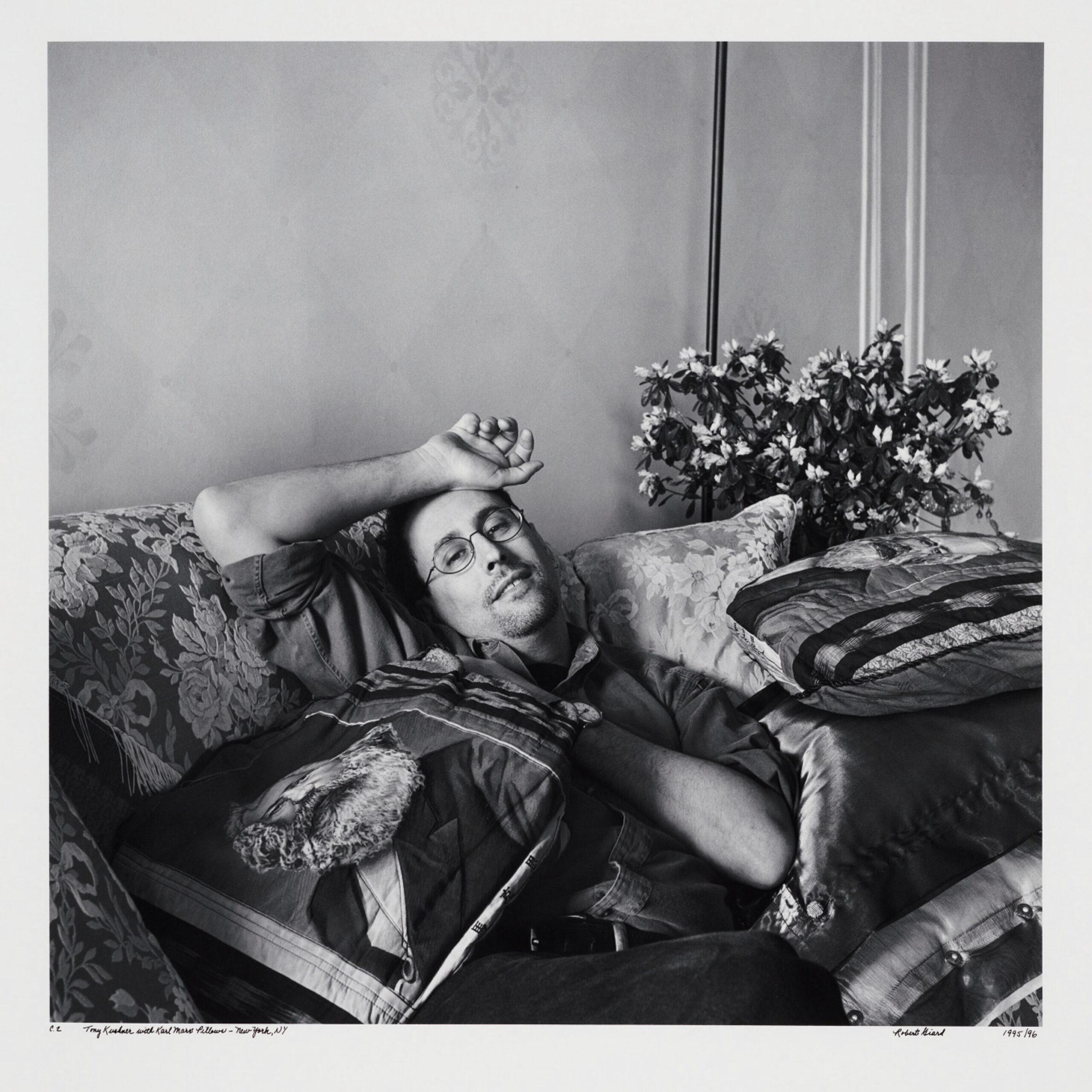 Tony Kushner with Karl Marx pillows - New York, N.Y, 1995