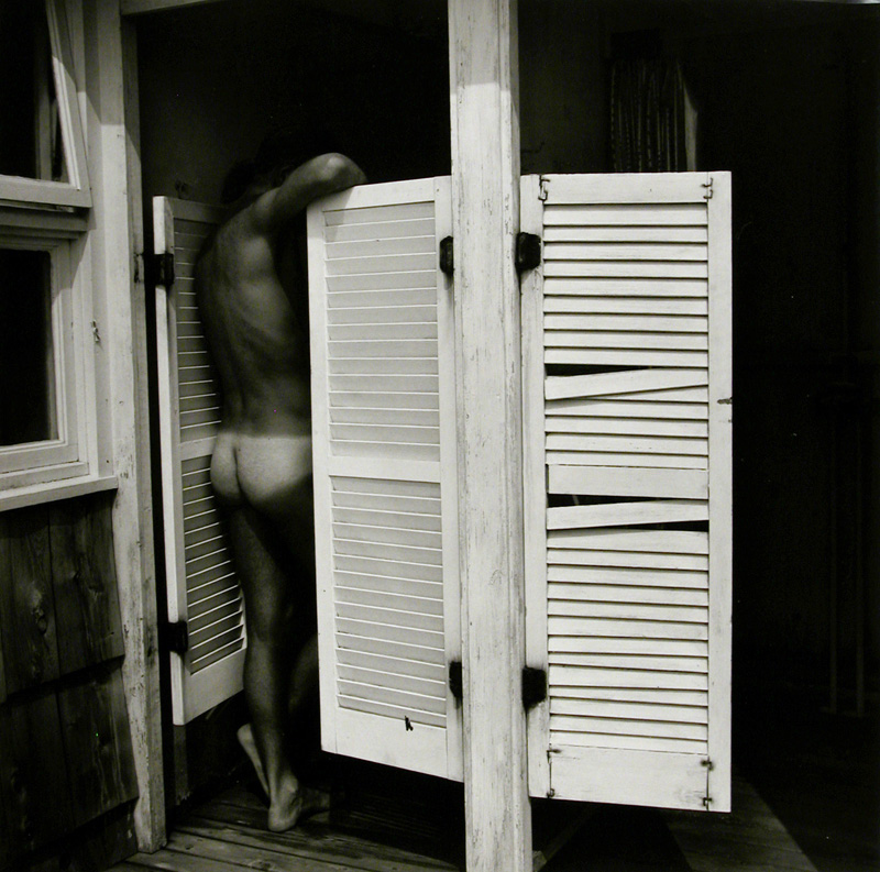 Untitled Male nude leaning on louvered doors, 1979