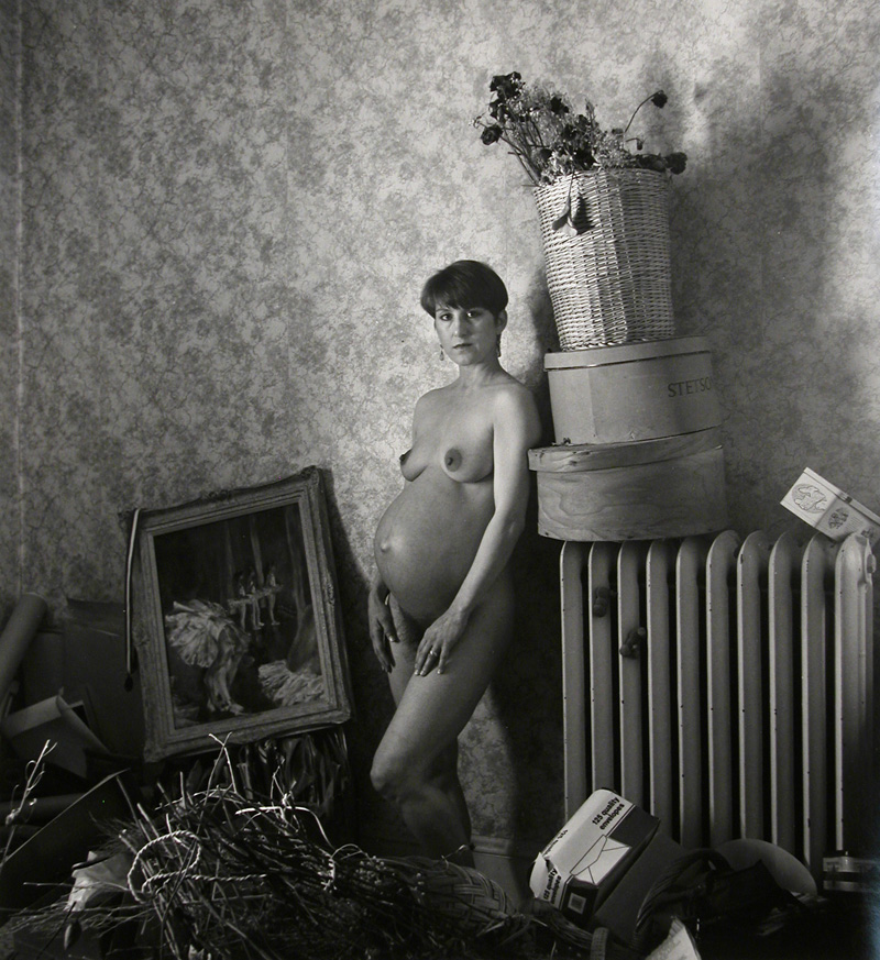 Untitled Pregnant Nude with Hat Boxes